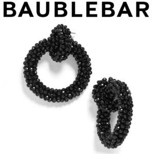 BAUBLEBAR Black Emily Beaded Hoop Earrings